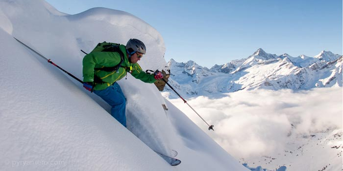 Skiing in powder in the French Alps, © Pyry Antero Photography