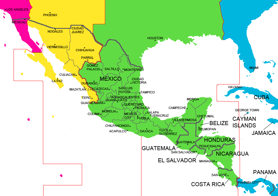 Mexico and Central America Time Zone Map  with cities  with